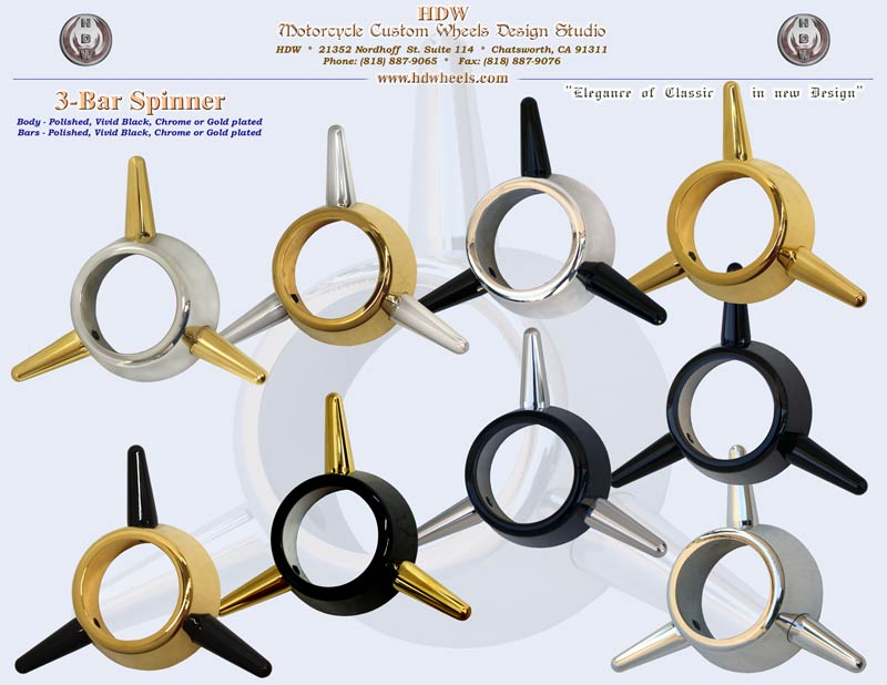 3-Bar spinner Polished, Vivid Black, Chrome or Gold plated
