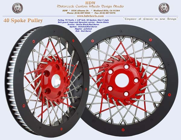 40 spoke pulley black with red star