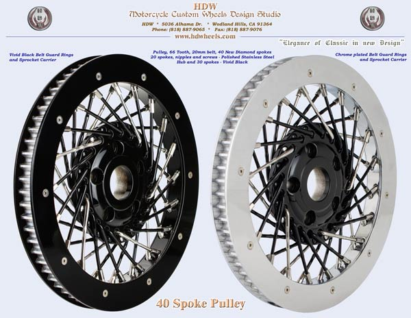 40 spoke pulley black and chrome