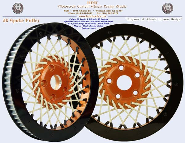 40 spoke pulley copper ivory black