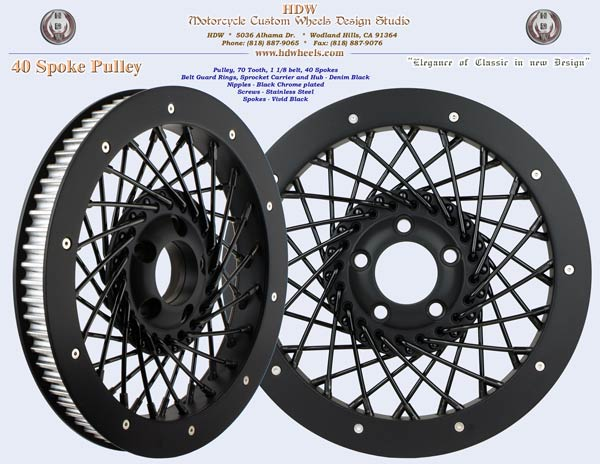 40 spoke pulley Vivid and Denim Black