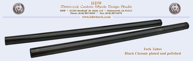 Black chrome pated and polished fork tubes