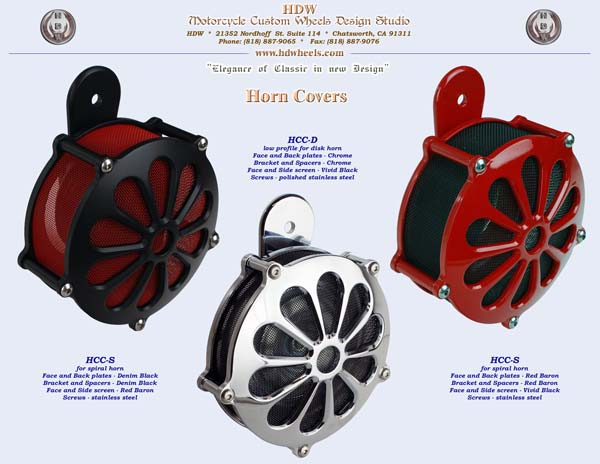 Horn cover red chrome black