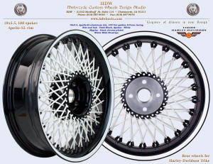 18x5.5, Apollo-SL, S-Cross, Fat spokes, Vivid Black, White, Black nipples, Wide White pinstripe, For trike