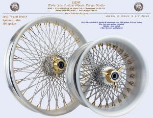 26x3.75 and 18x8.5, Apollo-SL, S-Cross, Brushed, Gold plated nipples and 3-Bar spinner