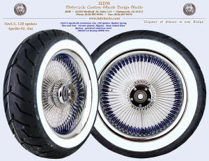 16x5.5, Apollo-SL, Radial, Chrome, Deep Cobalt Blue nipples, 180 white wall tire