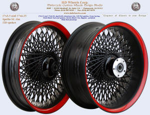 17x3.5 and 17x6.25, Apollo-SL, Fat spokes, Denim and Vivid Black, Wide Red pinstripe
