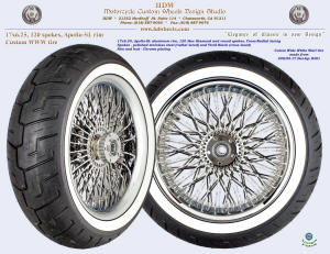 17x6.25, Apollo-SL, Cross-Radial, New Diamond, Chrome, Custom 200/55-17 white wall tire