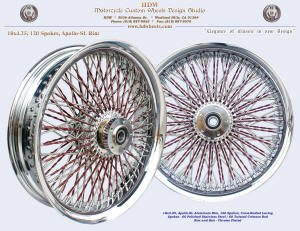 18x4.25, Apollo-SL, Cross-Radial, Chrome, Crimson Red (Twisted spokes)