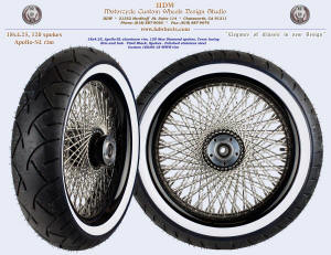 18x4.25, Apollo-SL, New Diamond, Vivid Black, Custom 160/60-18 white wall tire
