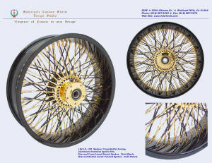 18x5.0, Apollo, Cross-Radial, Twisted radial spokes, Vivid Black, Gold plating