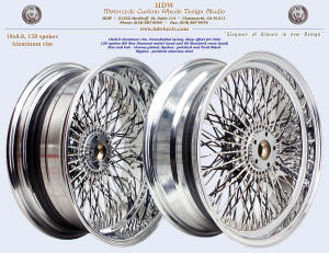 18x8.0, Aluminum rim, Cross-Radial, New Diamond radial spokes, Chrome, Vivid Black, For Trike
