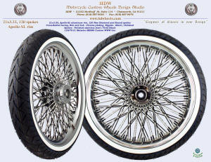 21x3.25, Apollo-SL, Cross-Radial, New Diamond radial spokes, Chrome, Vivid Black, Custom white wall tire
