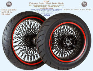 21x3.25 and 16x5.5, Apollo-SL, Fat spokes, Denim and Vivid Black, Wide Red pinstripe, 130/60-21 and 180 tires