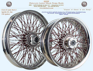 21x3.25 and 18x5.5, Apollo-SL, Cross-Radial, Twisted spokes, Chrome and Brandywine