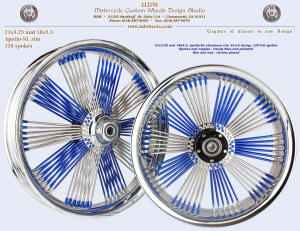 21x3.25 and 18x5.5, Apollo-SL, Fan-6, Fat spokes, Chrome and Candy Blue