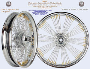 23x3.75, Apollo-SL, Fan-6, New Diamond spokes, Chrome, Gold plated nipples