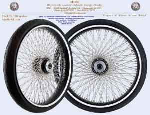 26x3.75, Apollo-SL, Twisted spokes, Vivid Black, Wide White pinstripe, Tire