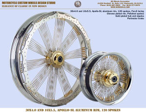 30x4.0 and 16x5.5 Apollo-SL Fan-6 chrome and gold Perimeter brake