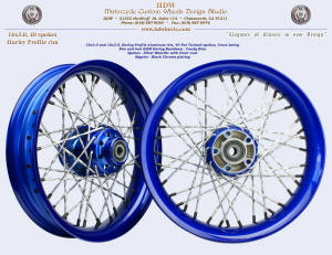 16x3.0, Harley Profile aluminum rim, Silver Metallic Fat Twisted spokes, Candy Blue, Black nipples
