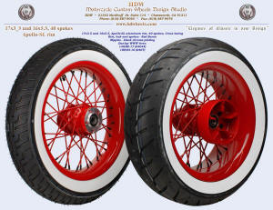 17x3.5 and 16x5.5, Apollo-SL, Red Baron, Black chrome plated nipples, White wall tires