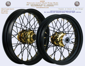 18x3.5 and 16x3.5 Steel rim Denim Black and Candy Brass