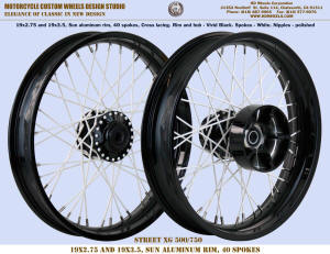 19x2.75 and 19x3.5 Sun rim Vivid Black and White for Street XG500 / 750