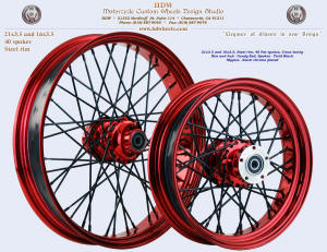 21x3.5 and 16x3.5, Steel rim, Fat spokes, Candy Red, Vivid Black
