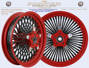 16x3.5, Steel rim, Super Fat spokes, Matte Medium Red, Denim Black, Rotor carriers for 2014 and up Touring