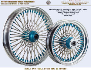 21x3.5 and 16x3.5, 52 Super Fat, Radial Chrome and Frosted Teal Pearl