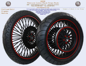 21x3.5 and 18x5.5, Steel rim, Super Fat spokes, Denim Black, Red pinstripe, Black rotor and pulley, Tires