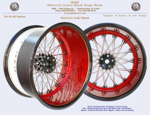 18x10, aluminum rim, S-Cross, Two tone, Antique Candy Red, Vivid Black, Gold pinstripe, For trike