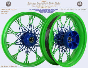 18x2.75 and 18x4.25 Sun rim S-Cross-Radial Twistes fade Bright Green and Blue Street XG500 / 750
