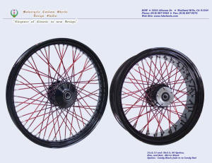21x2.15 and 18x5.5, Steel rim, Vivid Black, Candy Red, Fade spokes