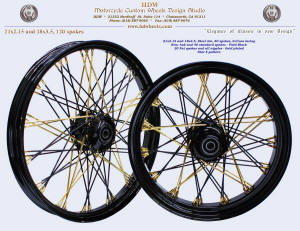 21x2.15 and 18x3.5, Steel rim, S-Cross, Gold plated Star-5 and nipples, Vivid Black