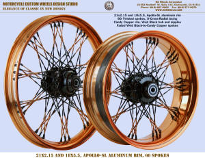 21x2.15 and 18x5.5 Apollo-SL, S-Cross-Radial, Twisted faded spokes, Candy Copper, Vivid Black