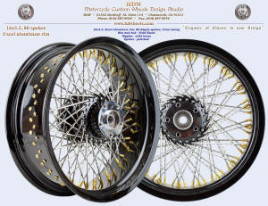 16x5.5, Excel aluminum rim, Ripple spokes, Vivid Black, Solid brass nipples