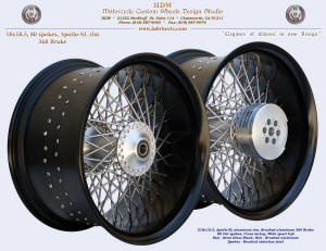 18x10.5, Apollo-SL, Fat spokes, Wide spool hub, Semi Gloss Black, Brushed, 360 brake