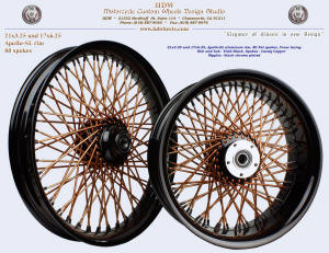 21x3.25 and 17x6.25, Apollo-SL, Fat spokes, Vivid Black, Candy Copper, Black chrome plated nipples