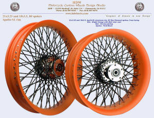 21x3.25 and 18x5.5, Apollo-SL, New Diamond spokes, Bright Orange / matte clear coat, Chrome, Vivid Black