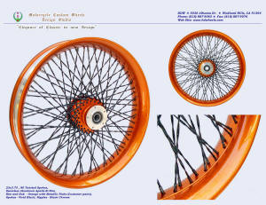 23x3.75, Apollo-SL, Twisted spokes, Metallic Orange, Vivid Black, Black chrome plated nipples