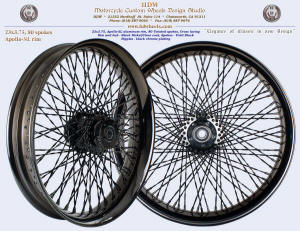 23x3.75, Apollo-SL, Twisted spokes, Black Nickel plating with clear coat, Vivid Black
