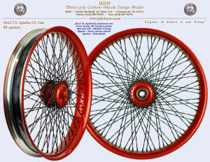 26x3.75, Apollo-SL, Twisted spokes, Metallic Orange, Vivid Black, Black chrome plated nipples