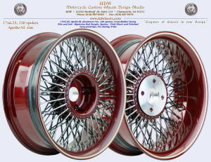 17x6.25, Apollo-SL, Cross-Radial, Mystery Red Sunglo, Vivid Black, Ivory pinstripe. For Harley trike