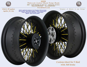 18x8.5, Apollo-SL, Cross-Radial, Denim Black, Yellow, Black chrome plated nipples, 360 Brake, For V-Rod