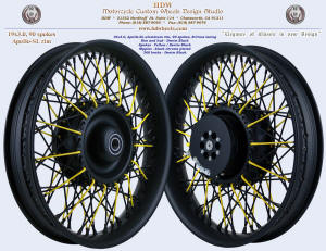 19x3.0, Apollo-SL, Cross-Radial, Denim Black, Yellow, Black chrome plated nipples, 360 Brake